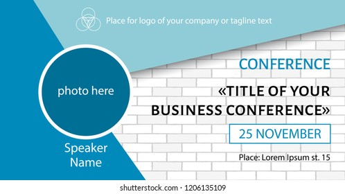 Business conference template. Social media event link banner design