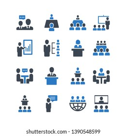 Business conference vector icon set