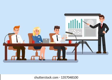 Business Conference Vector Illustration. Board of Directors Discussing Startup Project. Job Interview. Selection Commitee. Sales Presentation. Financial Advisor Analysing Market Cartoon Character