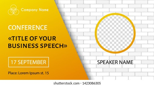 Business conference vector template with brick wall background. For social media announcement