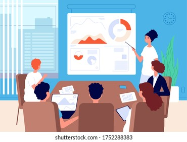 Business conference. Woman team leader, financial analyst at blackboard with charts. Office meeting, briefing vector illustration