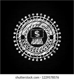 business congress icon drawn chalk emblem, retro style, chalk or chalkboard texture
