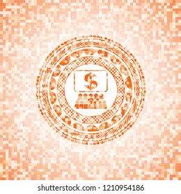 business congress icon inside abstract orange mosaic emblem with background