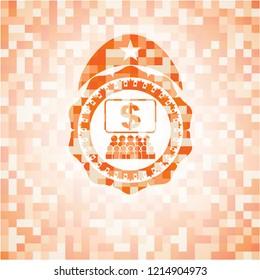 business congress icon inside abstract emblem, orange mosaic background