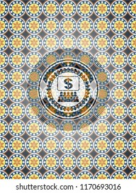 business congress icon inside arabesque style emblem. arabic decoration.