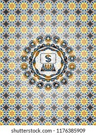 business congress icon inside arabesque emblem. arabic decoration.