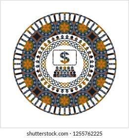 business congress icon inside arabesque emblem background. arabic decoration.
