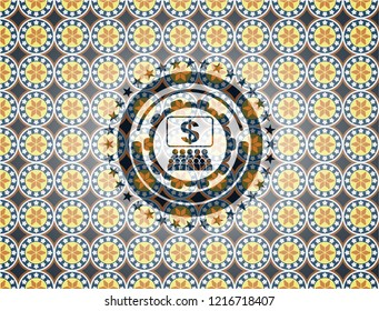business congress icon inside arabic emblem background. Arabesque decoration.