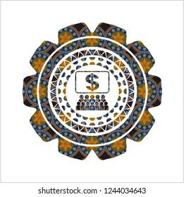 business congress icon inside arabic style badge. Arabesque decoration.