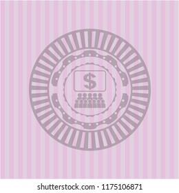 business congress icon inside badge with pink background