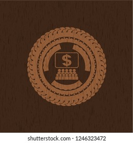 business congress icon inside badge with wooden background