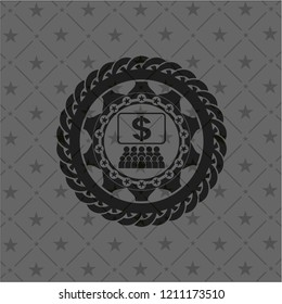 business congress icon inside black badge