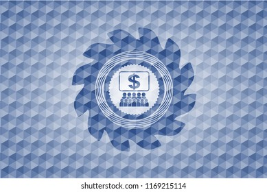 business congress icon inside blue emblem with geometric background.
