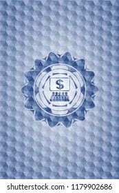 business congress icon inside blue hexagon emblem.