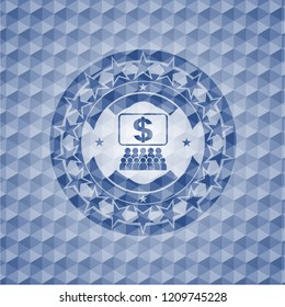 business congress icon inside blue polygonal emblem.