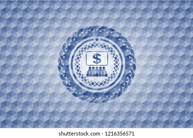 business congress icon inside blue emblem with geometric pattern.