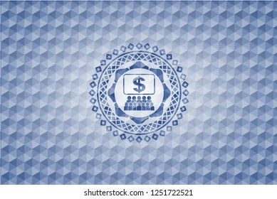 business congress icon inside blue emblem or badge with geometric pattern background.