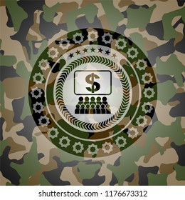 business congress icon inside camo texture
