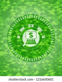 business congress icon inside green emblem with mosaic background