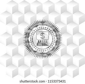business congress icon inside grey emblem. Retro with geometric cube white background