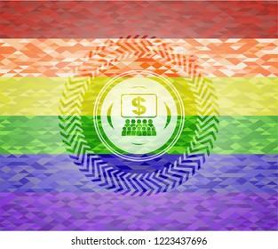 business congress icon inside lgbt colors emblem