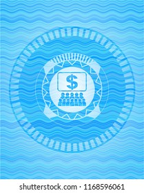 business congress icon inside light blue water wave badge.