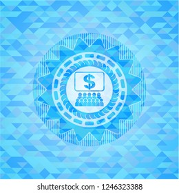 business congress icon inside light blue emblem with triangle mosaic background