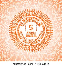 business congress icon inside orange tile background illustration. Square geometric mosaic seamless pattern with emblem inside.
