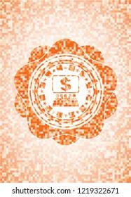 business congress icon inside orange mosaic emblem