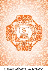 business congress icon inside orange tile background illustration. Square geometric mosaic seamless pattern with emblem inside.