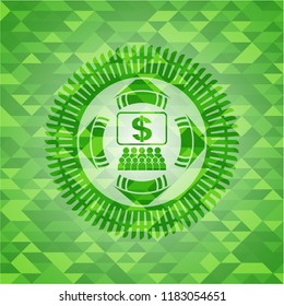 business congress icon inside realistic green emblem. Mosaic background