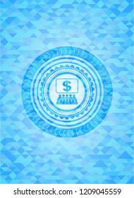 business congress icon inside realistic light blue emblem. Mosaic background