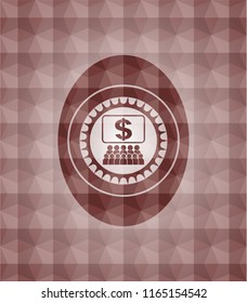 business congress icon inside red geometric emblem. Seamless.