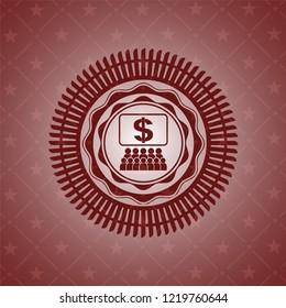 business congress icon inside retro red emblem