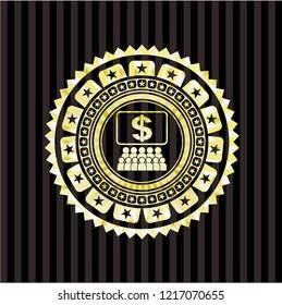 business congress icon inside shiny badge