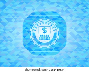 business congress icon inside sky blue emblem with triangle mosaic background