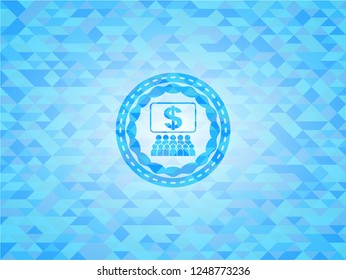 business congress icon inside sky blue emblem with mosaic background