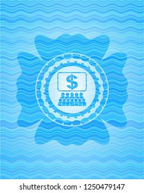 business congress icon inside sky blue water emblem.