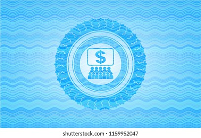 business congress icon inside water wave representation badge background.
