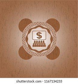 business congress icon inside wooden emblem. Retro