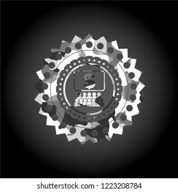 business congress icon on grey camouflaged pattern