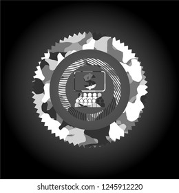 business congress icon on grey camouflage pattern