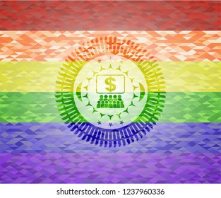 business congress icon on mosaic background with the colors of the LGBT flag