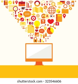 Business connecting social media vector icons