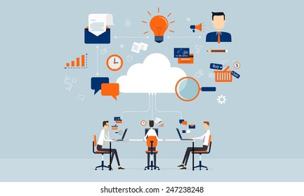 business connection on line on cloud technology