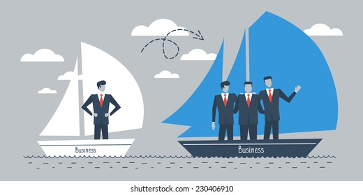 Business consolidation, small and big company, upgrade concept. Vector flat design illustration