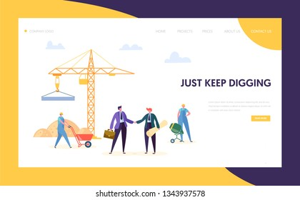 Business Construction Work Process Concept Landing Page. Builder Character in Uniform Work near Crane. Man in Suit Make Commercial Agreement Website or Web Page. Flat Cartoon Vector Illustration
