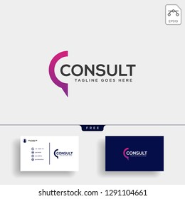 Business Consult logo template with business card vector isolated, icon element