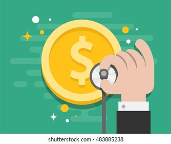 Business Consult Money Check Up Illustrator Vector