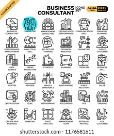 Business consultant icon illustration set in modern line icon style for ui, ux, website, web, app graphic design